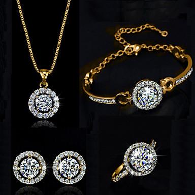 levne Dámské šperky-Dámské Syntetický diamant Moissanite Sady šperků Náhrdelník Náušnice Solitaire Kulaté HALO dámy Elegantní Křišťál Zirkon Náušnice Šperky Stříbrná / Zlatá Pro Svatební Párty Narozeniny Zásnuby Dar