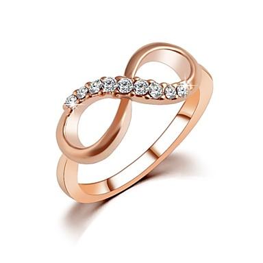 billige Motering-Dame Ring Kubisk Zirkonium liten diamant Gylden Zirkonium Gullbelagt Gullplatert rose damer Enkel Designer Bryllup Fest Smykker Dobbel evighet