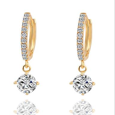 levne Dámské šperky-Dámské Diamant Kubický zirkon drobný diamant Visací náušnice Lustr Solitaire dámy Módní Zirkon Postříbřené Náušnice Šperky Zlatá / Stříbrná Pro Denní