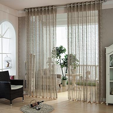 Två paneler Modern Rand Enligt bilden Bedroom Polyester Sheer gardiner Shades