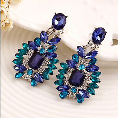povoljno Ženski nakit-Žene Sapphire Kristal Viseće naušnice Pasijans Emerald Cut dame Luksuz Elegantno Svaki dan fantazija Kubični Zirconia Naušnice Jewelry Plava Za