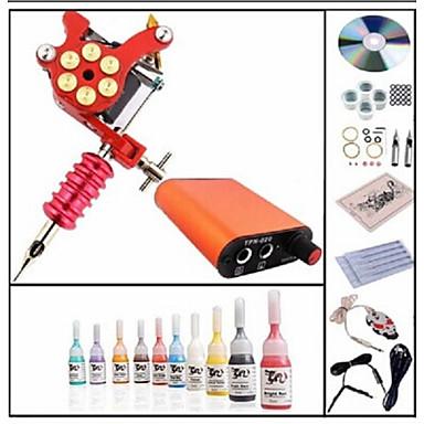 BaseKey Tattoo Machine Startkit - 1 pcs Tatueringsmaskiner med 10 x 5 ml tatueringsfärger, Professionell Mini strömförsörjning 1 x legerings tatueringsmaskin för linjering och skuggning