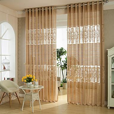 Hyls-topp Penn veck Två paneler Fönster Behandling Land Moderna Designer , Ihålig Geometrisk Kurva Vardagsrum Polyester Material Skira