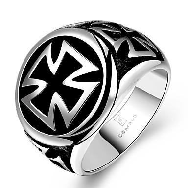 สำหรับผู้ชาย แหวน สีดำ เหล็กกล้าไร้สนิม โลหะ เกี่ยวกับยุโรป ของขวัญวันคริสต์มาส ปาร์ตี้ เครื่องประดับ ข้าม Circle Cross