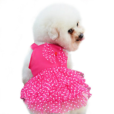 cheap Dog Clothes-Dog Dress Polka Dot Bowknot Fashion Dog Clothes Yellow Red Blue Costume Baby Small Dog Cotton XS S M L XL XXL
