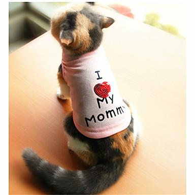 Katter / Hundar T-shirt Vit / Rosa Hundkläder Sommar Bokstav & Nummer Mode