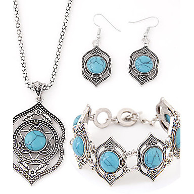 cheap Jewelry & Watches-Women's Turquoise Jewelry Set Ladies Asian Luxury European Elegant Resin Turquoise Earrings Jewelry For Party Birthday Engagement Gift Daily Casual / Necklace / Bracelets & Bangles