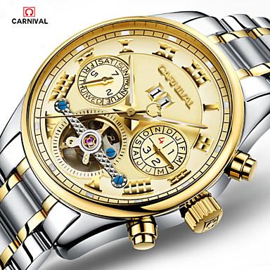 levne Pánské-Carnival Pánské Hodinky s lebkou Letecké hodinky Automatické natahování Nerez Bílá / Zlatá 30 m S dutým gravírováním Analog - Digitál Přívěšky - zlatá + stříbrná