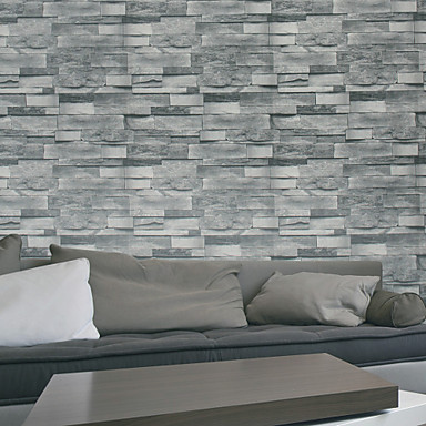 Haokhome Modern Faux Brick Wallpaper Roll Gray Stone Realistic Paper Room Kitchen Wall Decoration Covering 4886787 2018 48 99