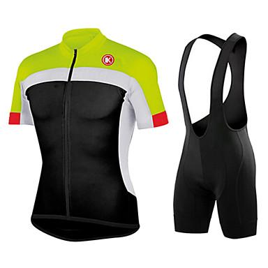 KEIYUEM Herr Kortärmad Cykeltröja med Haklapp-shorts Blå Svart / grön Ljusblå Lappverk Cykel Cykling Tights Träningsdräkter Vattentät Vindtät 3D Tablett sporter Lappverk Kläder / Elastisk