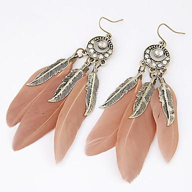 Dam Dropp Örhängen Löv Fjäder Personlig Europeisk Mode Indianer Fjäder örhängen Smycken Till Party Dagligen Casual