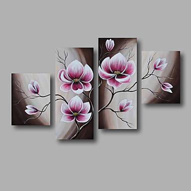 Hang målad oljemålning HANDMÅLAD - Blommig / Botanisk Moderna Inkludera innerram / Fyra paneler / Sträckt kanfas