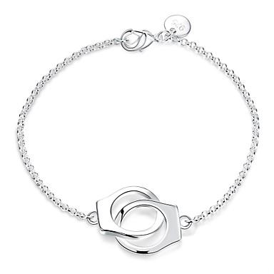 Dam Kedje & Länk Armband Berlock Armband Knuten Dubbel Handbojor Berlock damer Mode Sterlingsilver Armband Smycken Silver Till Bröllop Party