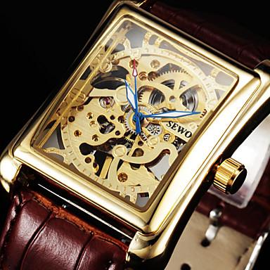 levne Pánské-Pánské Náramkové hodinky mechanické hodinky Mechanické manuální natahování Kůže Černá / Hnědá 30 m S dutým gravírováním Analogové Luxus - Bílá Černá Zlatá / Nerez