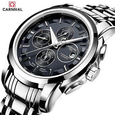 levne Pánské-Carnival Pánské Náramkové hodinky Letecké hodinky Automatické natahování Nerez Bílá 30 m Žhavá sleva Analog - Digitál Přívěšky Módní - Černá / Stříbrná