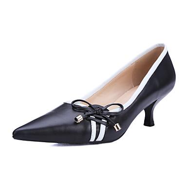 Bajo Casual Puntiagudos Tacones 4848142 Tacón Zapatos Negro Cuero 2019 mujer de Vestido Wtwqnq60SU