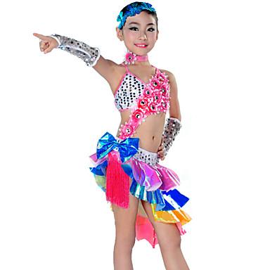 Latinamerikansk dans Outfits Prestanda Polyester Tofs Klänning / Ärmar / Huvudbonad / Latinodans