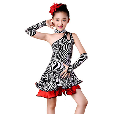 b94b27922 Latin Dance Outfits Performance Spandex Milk Fiber Ruffles Dress ...