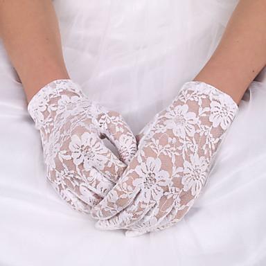 Spets / Elastisk satäng / Polyester Handledslängd Handske Klassisk / Brudhandske Med Enfärgad