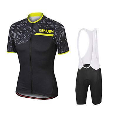 KEIYUEM Herr Kortärmad Cykeltröja med Haklapp-shorts Cykel Cykling Tights Träningsdräkter Vattentät Vindtät 3D Tablett sporter Kläder / Elastisk