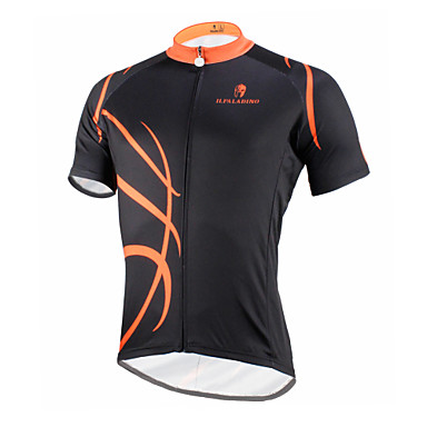 ILPALADINO Men s Short Sleeve Cycling Jersey - Black   Orange Bike Jersey  Top Breathable Quick Dry Ultraviolet Resistant Sports Polyester 100%  Polyester ... ac339a09f
