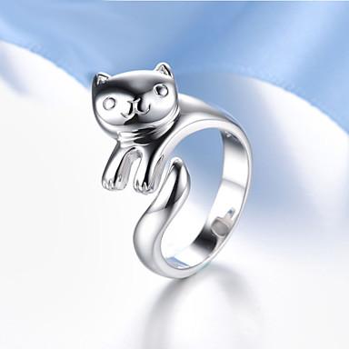 levne Dámské šperky-Dámské Vyzvánění prstenec Pussy Rings Křišťál Stříbrná Stříbro Křišťál dámy Neobvyklé Jedinečný design Párty Denní Šperky Panda Zvíře Nastavitelný
