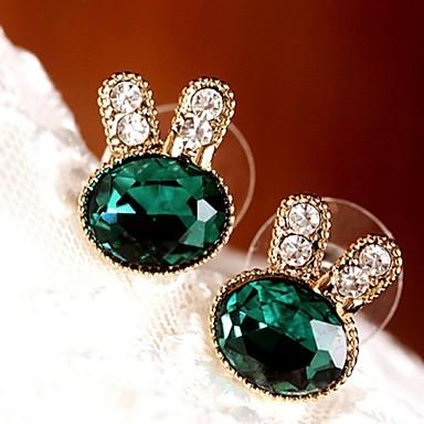 levne Dámské šperky-Dámské Kubický zirkon Peckové náušnice Visací náušnice dámy Evropský Módní Zirkon Pokovená platina Náušnice Šperky Zelená Pro