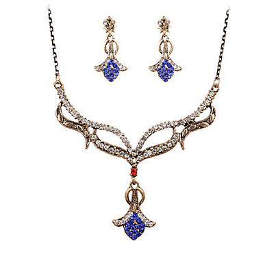 Turkos Smycken Set Hänge Halsband damer Vintage Fest Kontor Kubisk Zirkoniumoxid Turkos örhängen Smycken Guld / Blå Till 1set / Örhängen / Dekorativa Halsband