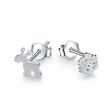 levne Dámské šperky-Dámské Peckové náušnice Jelen Sněhová vločka Zvíře dámy Módní Stříbro Stříbrná Náušnice Šperky Stříbrná Pro Svatební Párty Denní