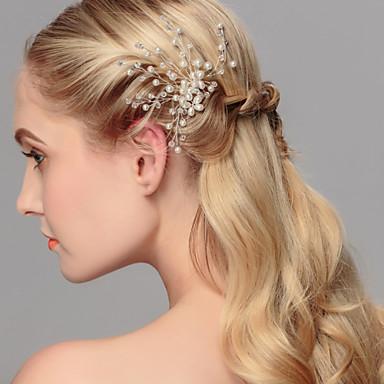 Pärla Huvudbonad / Hårpinne med Blomma 1st Bröllop / Speciellt Tillfälle / Casual Hårbonad