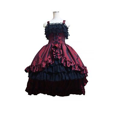 Gothic Lolita Klänningar Dam Flickor Satin Japanska Cosplay-kostymer Plusstorlekar Anpassad Svart Balklänning Lappverk Ärmlös Medium längd / Gotisk Lolita