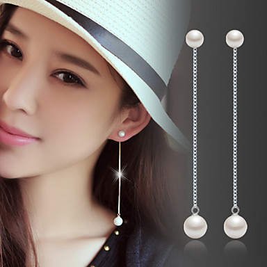 cheap Hot Pearl Jewelry Sale-Women's Pearl Drop Earrings Jacket Earrings Hanging Earrings Long Ladies Fashion Birthstones Pearl Sterling Silver Silver Earrings Jewelry Silver For Wedding Party Daily Masquerade Engagement Party