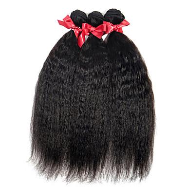 povoljno Ekstenzije od ljudske kose-3 paketa Brazilska kosa Ravan kroj Virgin kosa Ljudske kose plete 8-28 inch Isprepliće ljudske kose Proširenja ljudske kose / 10A