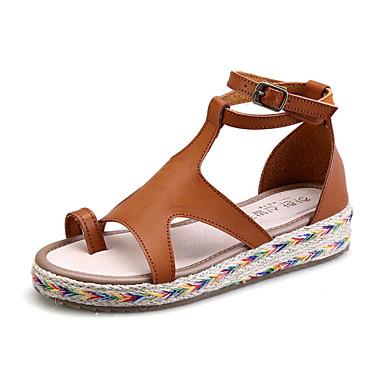 levne Dámské sandály-Dámské Sandále s plochým paty Platforma Přezky mikrovlákno Creepers / Gladiátorské Léto Černá / Hnědá / Zelená