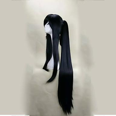 billige Kostymeparykk-Syntetiske parykker Kostymeparykker Rett Stil Med lugg Med hestehale Parykk Lang Svart Syntetisk hår Dame Svart Parykk hairjoy