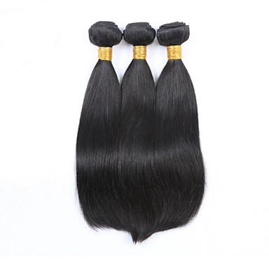 3 paket Malaysiskt hår Rak Äkta hår Human Hår vävar Hårförlängning av äkta hår Människohår förlängningar / 8A