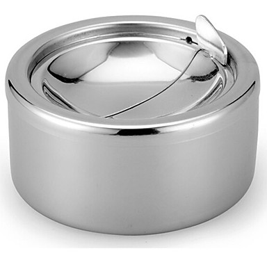 cheap Home Supplies-Stainless Steel Windproof Ashtrays Flip-top Table-Top Smokeless Ashtray