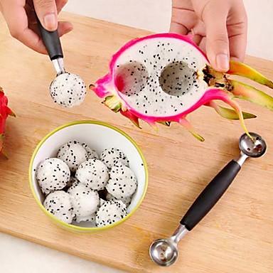 glass dubbel skopa sked melon baller cutter frukt köksredskap
