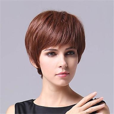 Kurze Stil Glattes Haar Europäische Weben Braune Farbe Haare