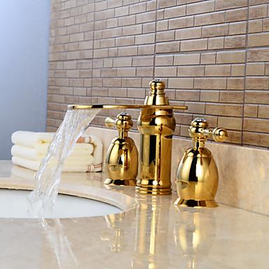 Badrum Tvättställ Kran - Vattenfall / Utbredd Ti-PVD Hål med bredare avstånd Två handtag tre hålBath Taps