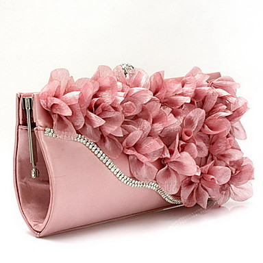 cheap Clutches & Evening Bags-Women's Bags Chiffon Evening Bag Flower for Wedding / Event / Party / Formal Black / Fuchsia / Pink / Wedding Bags