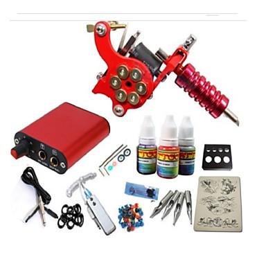 BaseKey Tattoo Machine Startkit - 1 pcs Tatueringsmaskiner med 1 x 15 ml tatueringsfärger Mini strömförsörjning No case 1 x legerings tatueringsmaskin för linjering och skuggning