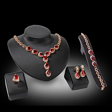 e1e326a3f9604 [$15.74] Women's Synthetic Diamond Jewelry Set Pear Cut Ladies Luxury  Elegant Crystal Rhinestone Gold Plated Earrings Jewelry Fuchsia / Red For  ...