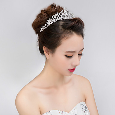cheap Hair Jewelry-Women's Girls' Tiaras For Wedding Party Prom Crown Homecoming Royalty Flower Pearl Crystal Imitation Diamond Silver / Alloy