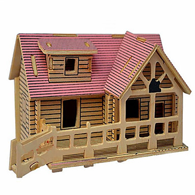 Pussel 3D-pussel Träpussel Byggblock GDS-leksaker Hus Trä