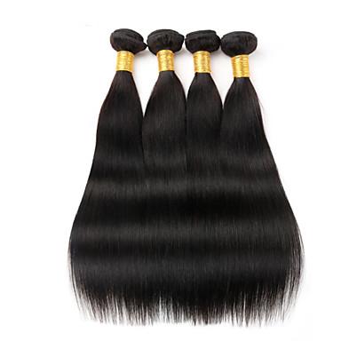 povoljno Ekstenzije od ljudske kose-4 paketića Peruanska kosa Ravan kroj Virgin kosa Ljudske kose plete 8-26 inch Isprepliće ljudske kose Proširenja ljudske kose / 10A