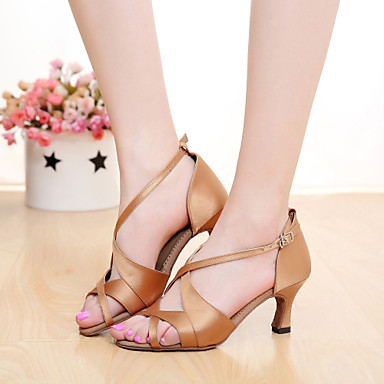 cheap SUN LISA-Women's Dance Shoes Satin Latin Shoes / Salsa Shoes Buckle Sandal Customized Heel Customizable Brown / Orange / Purple / Indoor / Leather / EU40