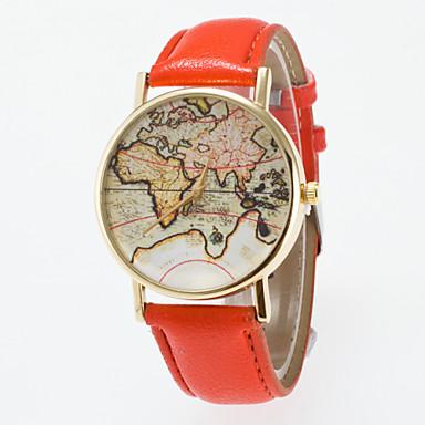 levne Pánské-Dámské Náramkové hodinky Mapa světa Křemenný Z umělé kůže Černá / Modrá / Červená Analogové Klasické Vintage Módní Mapa světa vzor - Modrá Růžová Khaki Jeden rok Životnost baterie / Jinli 377