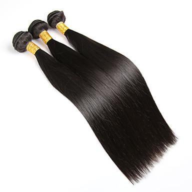 povoljno Ekstenzije od ljudske kose-3 paketa Brazilska kosa Ravan kroj Klasika Virgin kosa Ljudske kose plete Isprepliće ljudske kose Proširenja ljudske kose / 10A