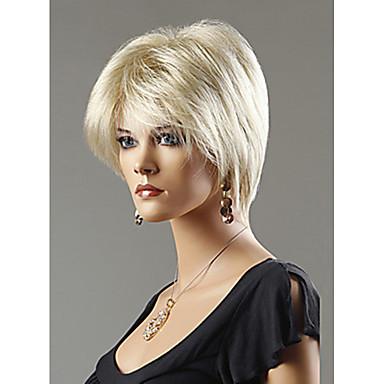 Syntetiska peruker Rak Rak Peruk Blond Korta Beigt Blond Syntetiskt hår Dam Blond StrongBeauty
